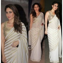 KAREENA GOLD SAREE WITH WHITE STRIPES