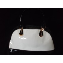 Patent Black and White Hobo bag